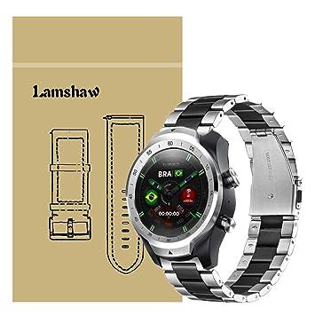 Ceston Metalica Acero Clásico Correas para Smartwatch TicWatch Pro (Negro & Plata)