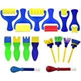 Joyibay 16Pcs Kids Paint Tool Diy Craft Sponge Painting Brush Sponge Brush Set