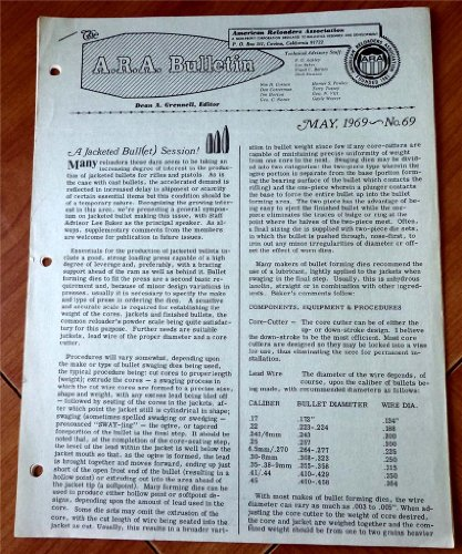 A. R. A. American Reloaders Association Bulletin May 1969, No. 69 (A Jacketed Bullet Session, Chronograph data on .35 Brown-Whelen, Remington 40XB, Carbide Sizing Die for 9mm Luger)