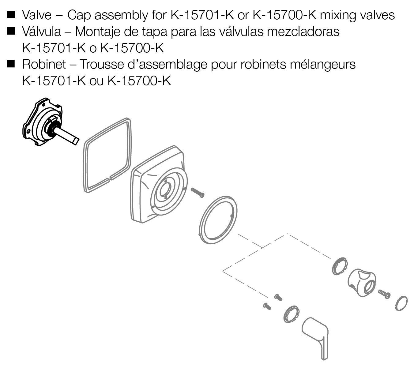 Kohler Genuine Part Gp77886 Mixer Cap For Older Style Coralais Diagram Old Shower Valve Stems Pressure Balance Brass Stem