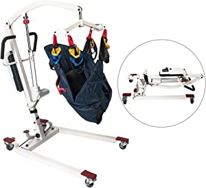 Hi-Fortune Patient Lift Electric Foldable Hydraulic Body Lift, Assembling-Free and Heavy-Duty Battery-Powered with Low Base, 450lb Weight Capacity with Medium Full Mesh Sling,White