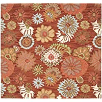 Safavieh Blossom Collection BLM731B Handmade Red and Multi Premium Wool Square Area Rug (6 Square)