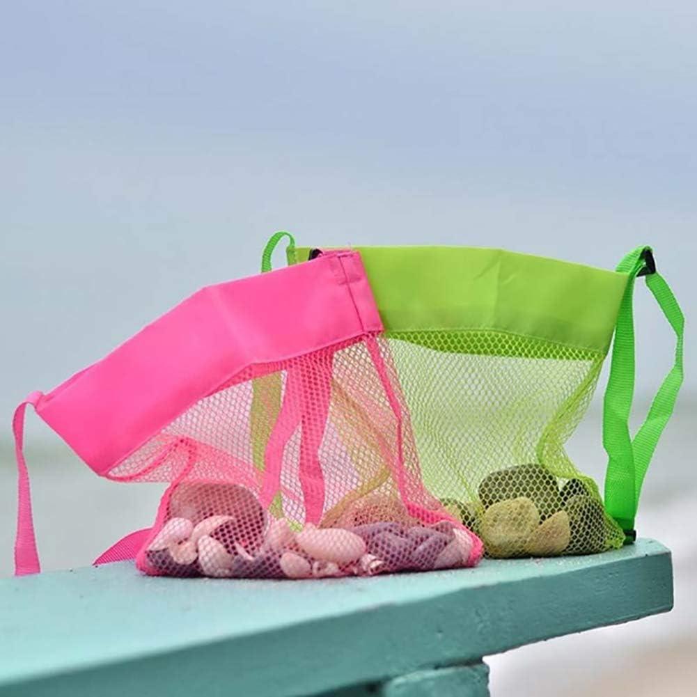 potato001 Cute Solid Color Mesh Shoulder Bag Kids Sea Beach Shell Toys Storage Crossbody Pouch