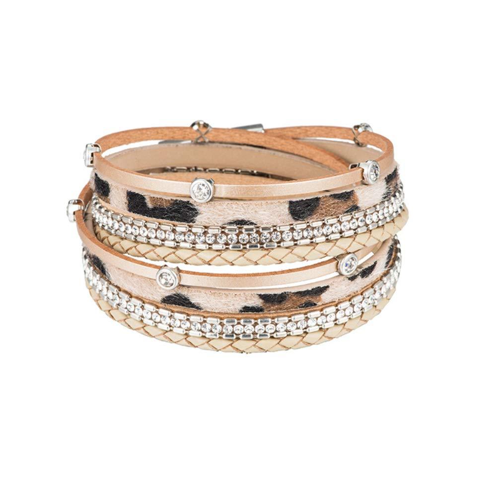 lureme Leather Leopard Wrap Bracelet with Rhinestones Magnetic Clasp Bracelet for Women (bl003513-4) Khaki by lureme