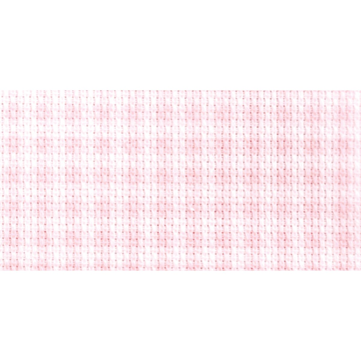 DMC DC27B-ROSE Impressions Aida Needlework Fabric, 14 by 18-Inch, White with Baby Pink Gingham, 14-Count Notions - In Network