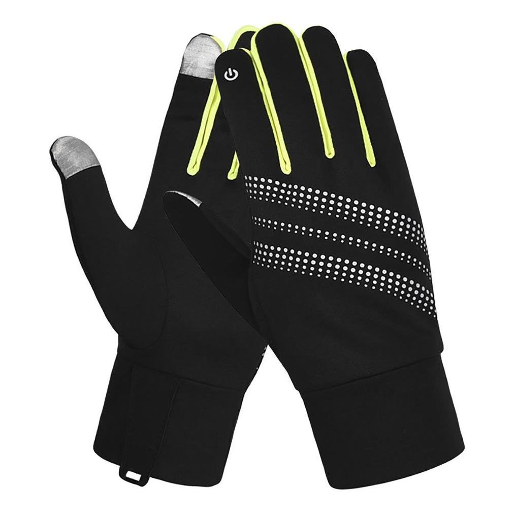 7-Mi Unisex Glove Reflective Design Winter Running Cycling Biking Gloves Touch Screen Outdoor/Indoor Sports Gloves Windproof Gloves for Men and Women L/XL Yellow