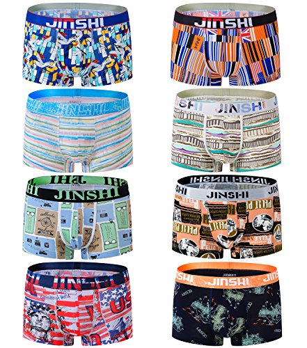 JINSHI Men Pouch Trunks Underwear Fly Front Boxer Briefs Short Leg 8-Pack ()