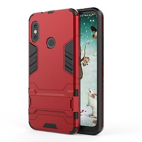 TenYll Xiaomi Mi A2 Lite Funda [Soporte] [Ultra Silm] 2 en 1 Híbrida Robusto Case, Carcasa a Prueba de Golpes TPU+PC Case para Xiaomi Mi A2 Lite -Rojo
