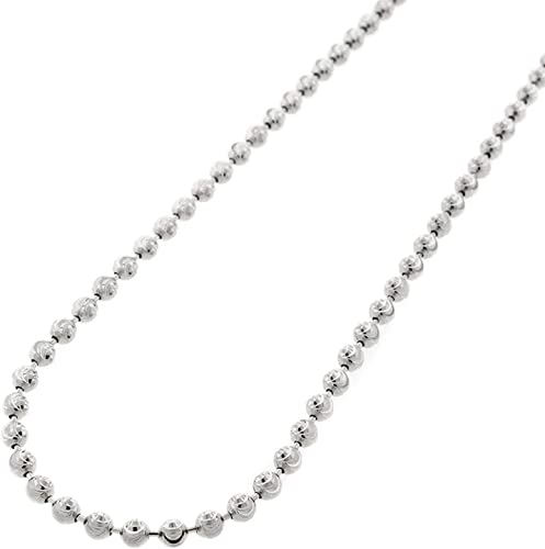 Italy Sterling Silver 14k White Gold Ball Bead Moon Link Chain Italian Necklace