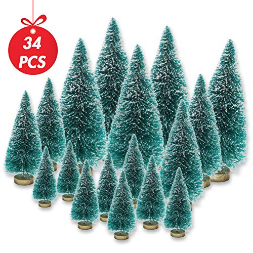LoveInUSA 34Pcs Mini Sisal Snow Frost Trees Bottle Brush Trees 5 Sizes Christmas DIY Decoration Decor Home Table Top Decoration Diorama Models (Tree Christmas Bottles From)