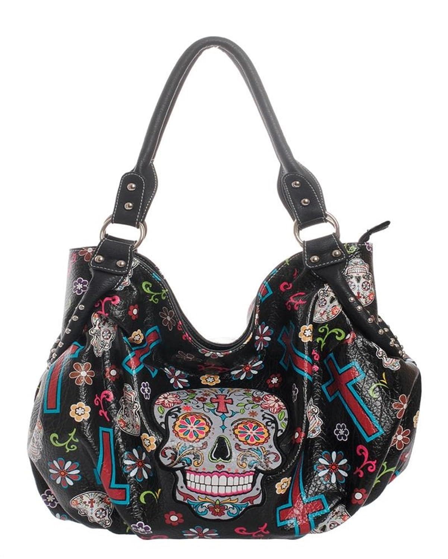 Cowgirl Trendy Sugar Skull Cross Shoulder Bag Western Gothic Purse Black