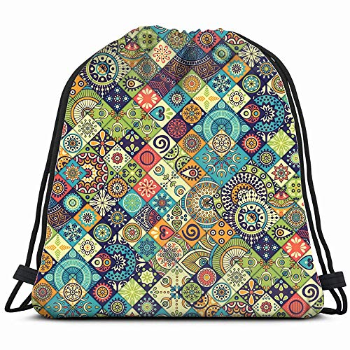 Vintage Decorative Elements Hand Abstract Patchwork Drawstring Backpack Bag Sackpack Gym Sack Sport Beach Daypack For Girls Men & Women Teen Dance Bag Cycling Hiking Team Training
