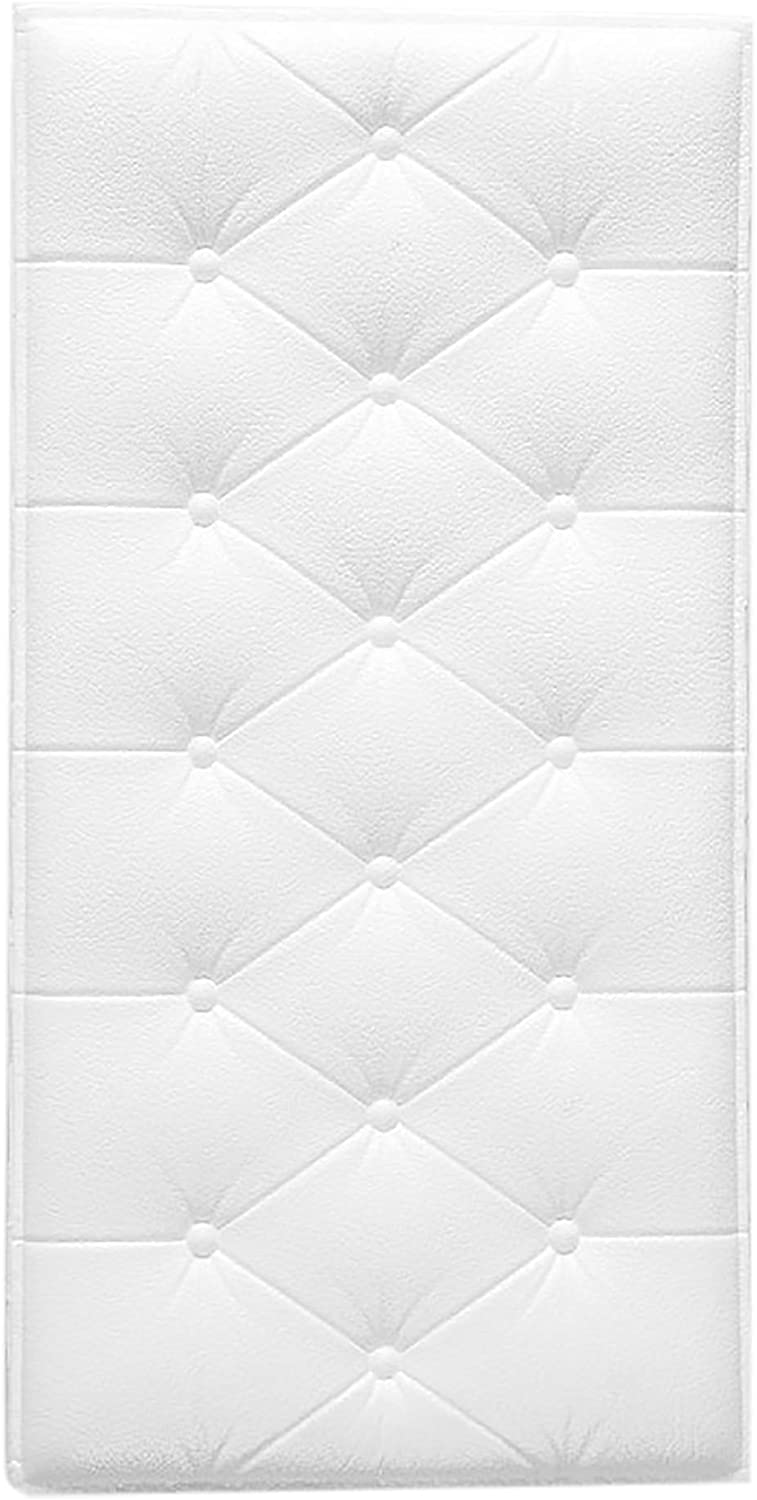 Fabulous Décor: Tufted Embossed 3D Wall Panels Soft Foam Peel and Stick Textured Wallpaper Home Decoration 4 Panels Total 8 SqFt (White)