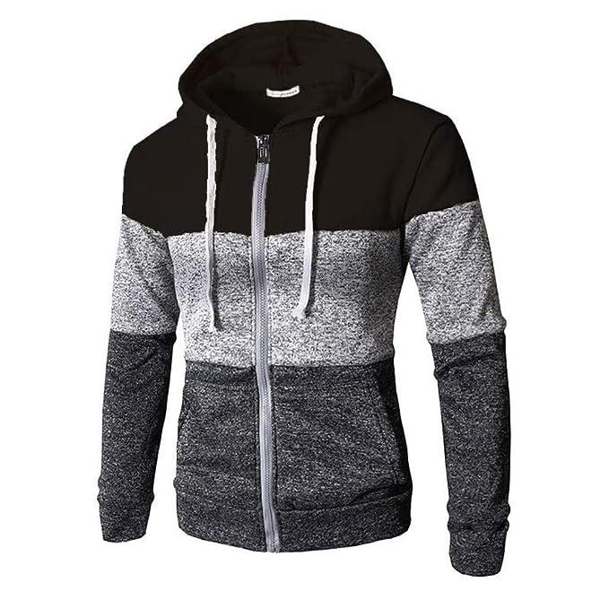 6ae49fa7af35 Autumn Winter Men's Stylish Hoodie Zip Up Fleece Coat Cardigan Color Block  Long Sleeve Hoody Sweatshirt