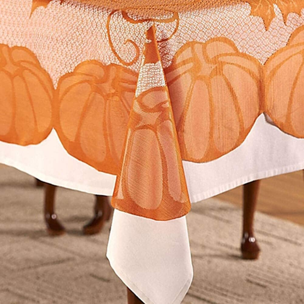 Lace Fall Rectangle Tablecloth Thanksgiving Decorations Dinning Table Cloths Cover for Autumn Home Decor Parties Pumpkin Harvest Decorations, 60''x84''
