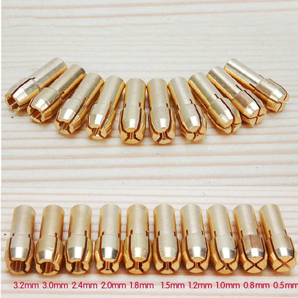 Set Brass Duradero Portabrocas Collet bits 0.5-3.2mm 4.8mm reemplazo de la ca/ña de Herramienta rotativa Dremel PRENKIN 10PCS