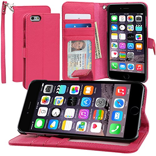 Evecase iPhone 6S Plus Case, Book Style Wallet Folio Leather Case with Credit Card ID Pockets, Stand & Strap for Apple iPhone 6S Plus / 6 Plus 5.5'' Screen Smartphone - Hot (Suede Horizontal Carry Case)