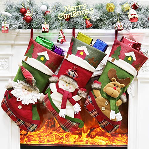 Aiduy 3 Pack Christmas Stockings Set 18 3D Santa Snowman Reindeer Fireplace Mantle Hanging Xmas Stockings Decorations Gifts for Family Holiday Season Decor and Party Accessories