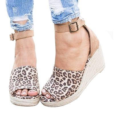 Syktkmx Womens Espadrille Platform Wedge Heel Peep Toe Ankle Strap Slingback Suede Sandals   Platforms & Wedges