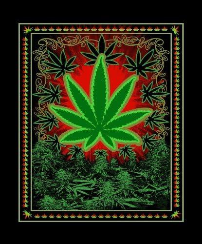 Heavy 3 KG Thick Soft Green Marijuana Chiko Leaf Mink Blanket Queen