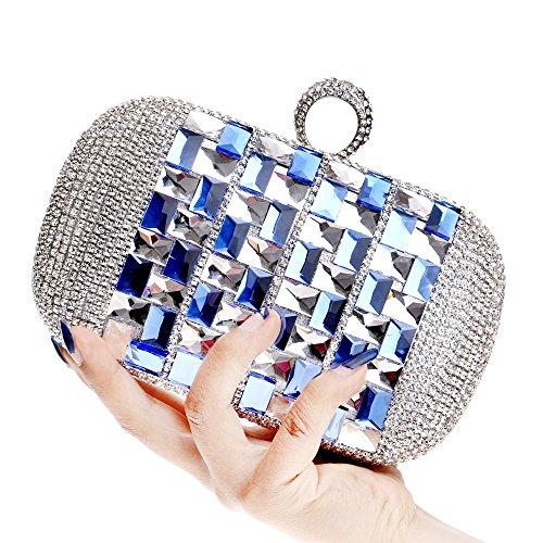 Chaîne Bourse Épaule Main Cristal KYS Sacs à Embrayage Sac Strass De Noël Cadeau blue Party Mode Femmes Soirée 71qqfPIaX