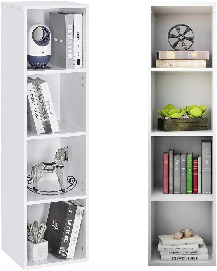 Meerveil Estantería Librería, Estantería Pared Estantería de Madera con 4 Cubos Ordenado para Libros CD Juguetes Blanco 30 * 30 * 120cm: Amazon.es: Hogar