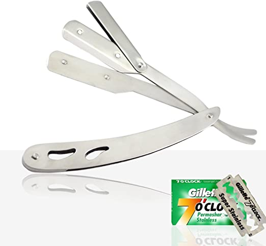 BRAND NEW – Straight Cut Throat Navaja de afeitar, Hombres Peluquería Afeita afeitadora, profesional de peluquería de salon Maquinilla de Afeitar + 5 PC de la hoja ...