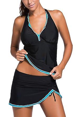 d15732dd68 DOKOTOO Womens Halter Skirted Tankini Sets 2 Piece Swimsuits: Amazon.co.uk:  Clothing