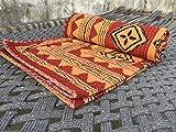 AMERCRAFTBAZAAR Indian Twin Single Bed Size Hand Blocked Organic Vegetable Dye Indigo Kantha Quilt, Kantha Blanket, Bed Cover, Bedspread, Bohemian Bedding 6090''