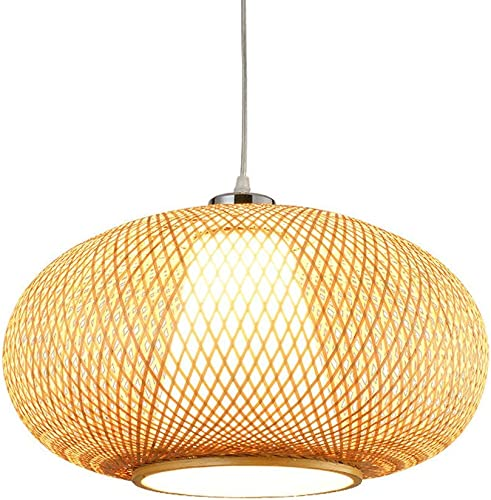 Cgjdzmd Bamboo Restaurant Decor Droplight Pendant Lamp Light Antique Loft Wicker Rattan Chandelier Fixture Chain Adjustable E27 1-Light Ceiling Hanging Lantern 15.75in/40cm