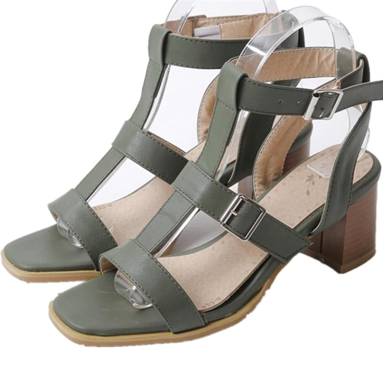 SHFANG shoes Dame Schuhe Sommer Dew Toe Rough Ferse Freizeit Bequeme Quadrat Ferse Gürtel Gürtel Studenten Drei Farben 7cm Green 34