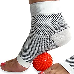 COMPRESSION SOCKS for Plantar Fasciitis (pair), and FREE Spiky Massage Ball (Bundle), for Foot Pain, Ankle & Arch Support, & Swelling (White, Medium)