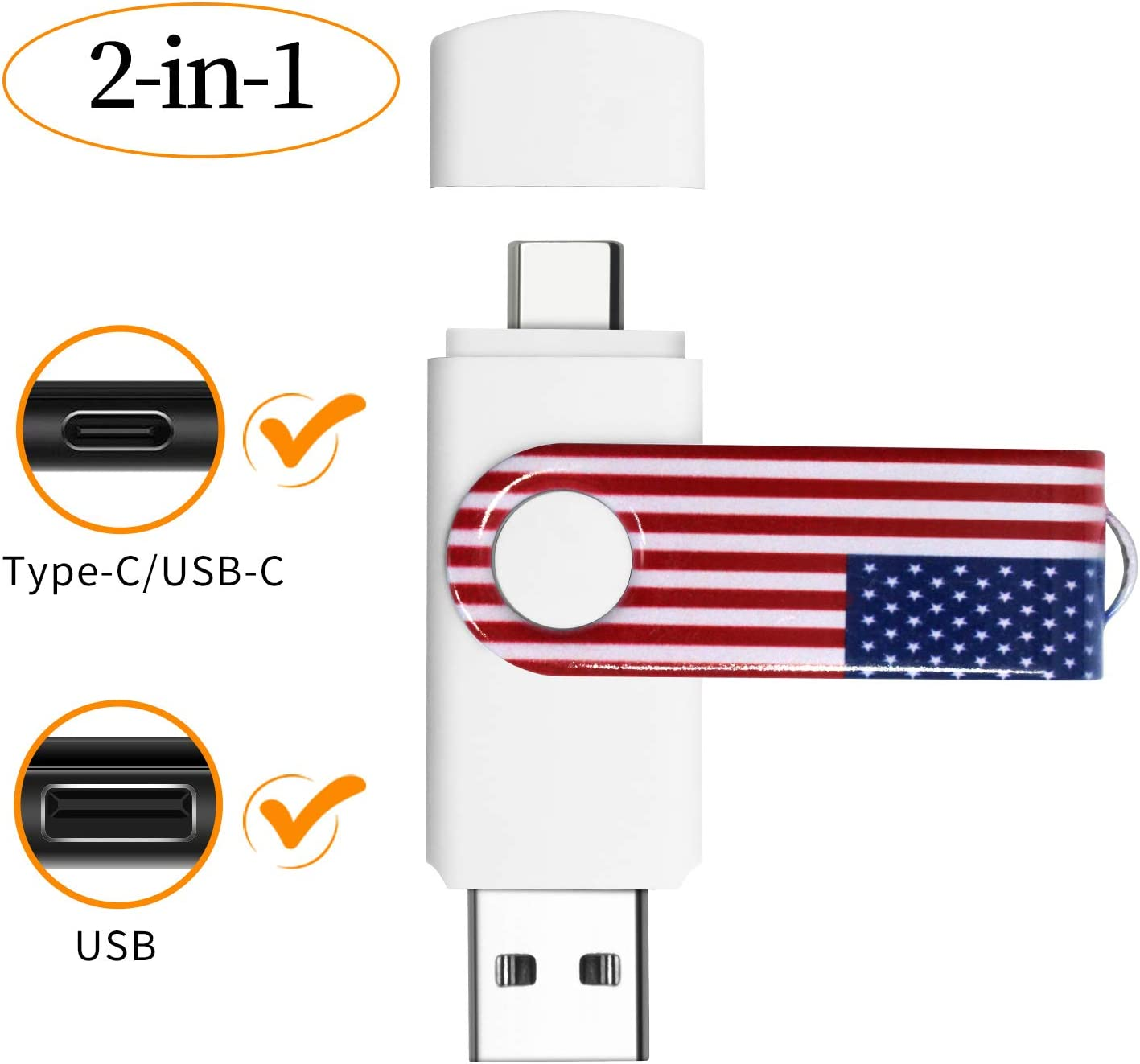 VATAPO 2 in 1 256GB 3.0/3.1 Type C/USB C Flash Drive for Android Phones,Tablets.Laptop,Desktop.Photo Stick for Mobile Phones with Type C Interface.(Comes with a Micro Adapter
