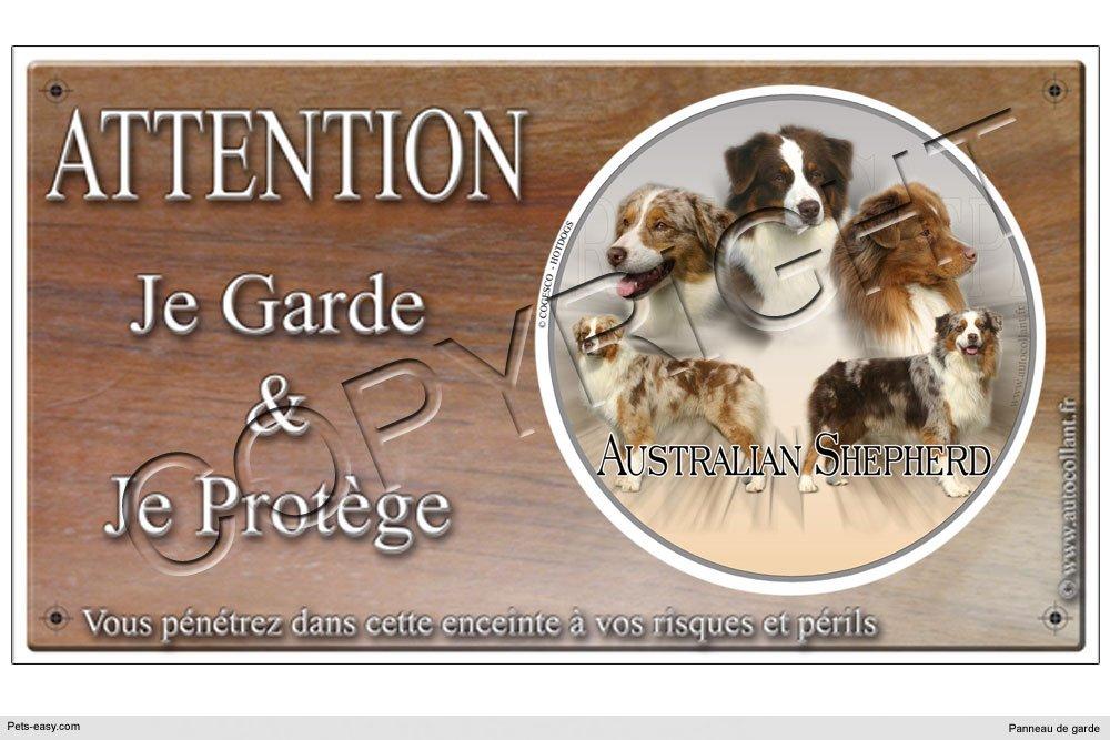 Panneau chien ou plaque Australian-shepherd-Rouge 20 cm COGESCO sarl