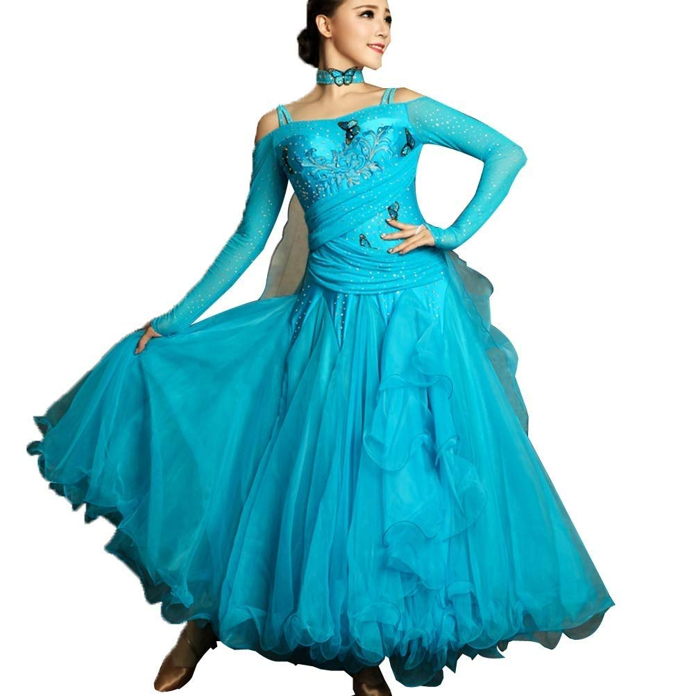 55%以上節約 女性のための長袖のモダンダンスコンペティションスカート大きなスウィングドレス国家標準社交ダンスダンス衣装 ブルー B07QL87HMC XL XL|ブルー B07QL87HMC ブルー XL, インテリアきらめき:81538ca7 --- a0267596.xsph.ru