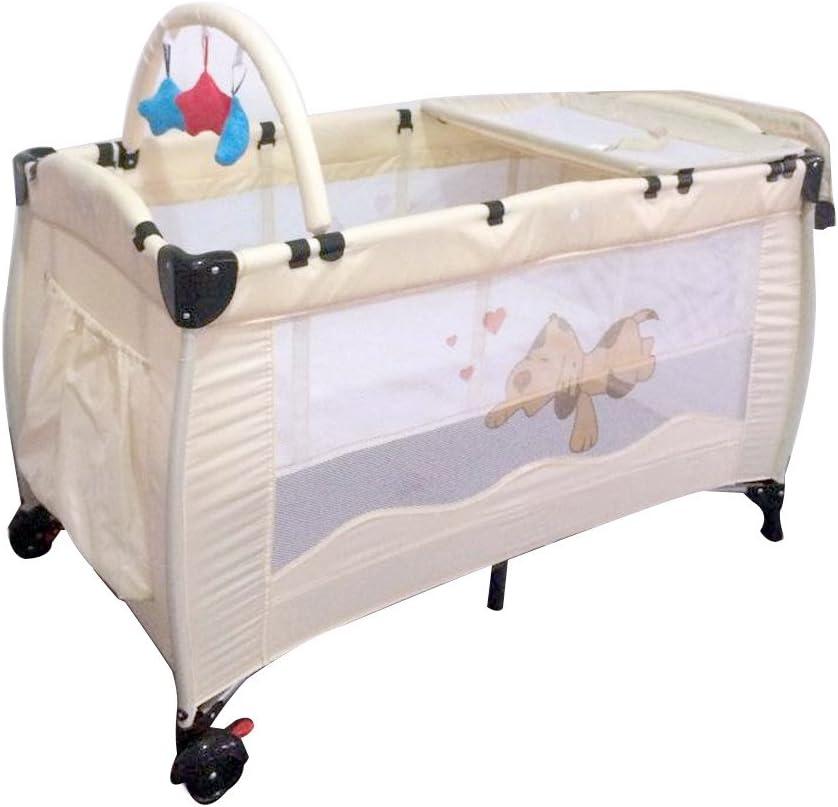 performance fiable belle couleur beau lustre Lit parapluie bébé, expérience de rêve doux, portable et pliable,  multifonctionnel, beige, marron, 120 cm x 60 cm x 76 cm (Beige)