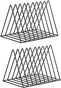 Baoblaze Organizador para Libros Met/álico Sujeta Libros Dise/ño Moderno Sencillo 2 Piezas Negro