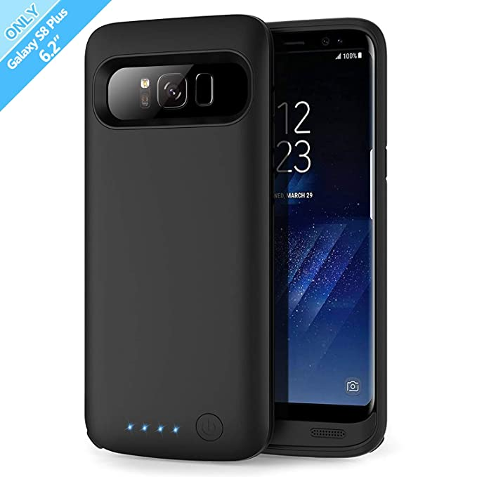 sports shoes e2491 b99f2 Battery Case for Galaxy S8 Plus 6500mah, Rechargeable Charging Case for  Samsung Galaxy S8 Plus Backup Power Case Samsung S8+ Battery Cover-Black
