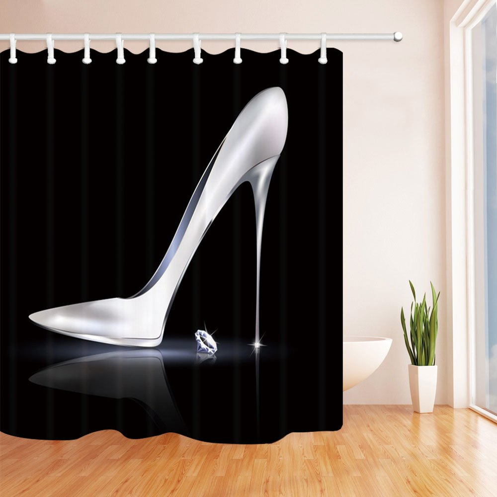 Purple Silver Black Silver High Heels and Diamonds KOTOM Fashion Girls Decor Shower Curtain Polyester Fabric Bath Curtains with Hooks 69W X 70L Inches