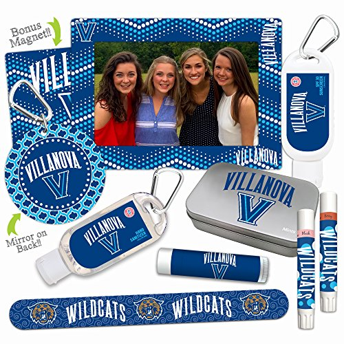NCAA Villanova Wildcats Platinum Variety Set- with 2 Lip Shimmers, Lip Balm SPF 15, Nail File, Mirror, Sanitizer, Lotion, Mint Tin, Magnetic Picture Frame. Ideal gift for Mother's Day. Basketball. ()