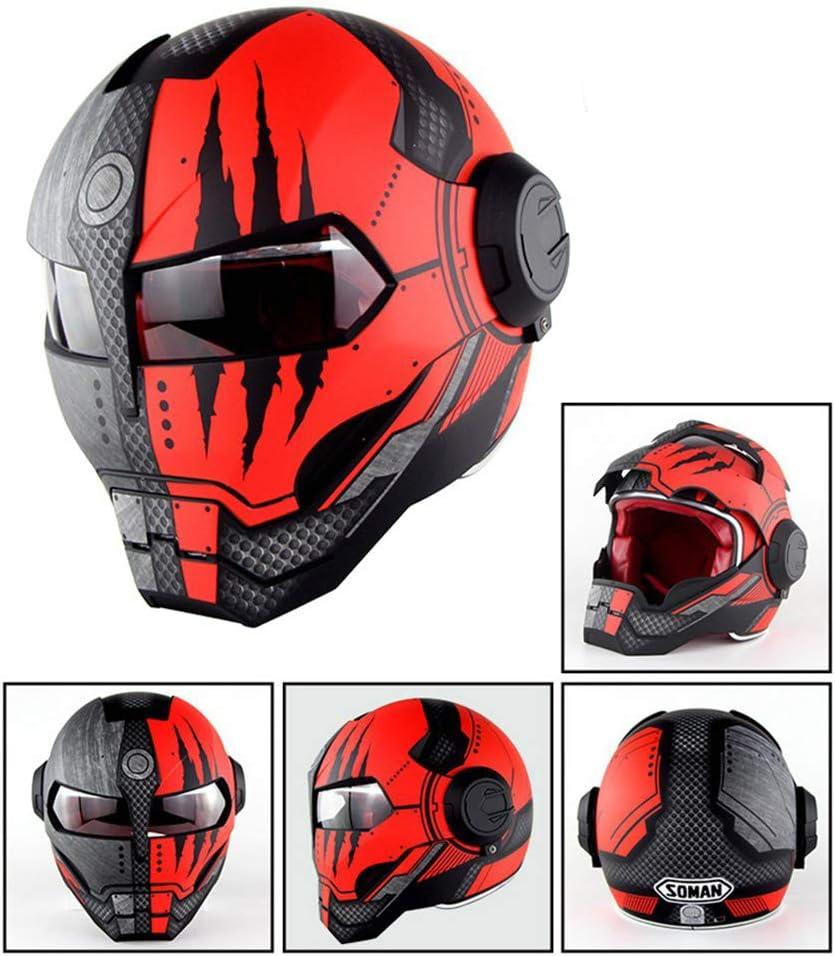 MTCTK D.O.T zertifiziertes Motorrad Iron Man Full Face Helm Transformers Flip up Helm Vintage Moto Integrated Helmet