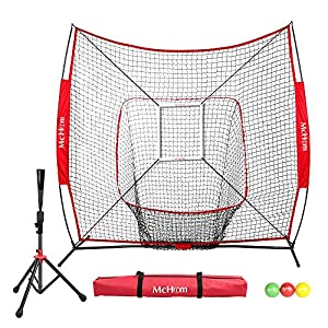 McHom 7′ x 7′ Baseball & Softball Practice Net Set with Travel Tee, 3 Weighted Balls & Strike Zone for Hitting, Pitching, Batting & Fielding Practice | Collapsible and Portable
