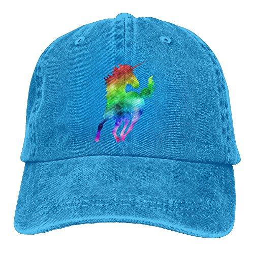 BGSSSLN Unisex Rainbow Galaxy Lucky Unicorn Adjustable Denim Cap Snapback Hat (Denim Rainbow)
