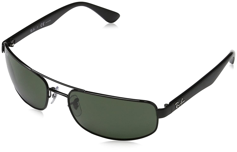 TALLA 61. Ray-Ban Hombre Gafas de Sol de Acero Orb, Negro