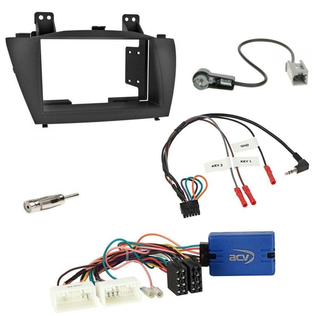 2010-2013 ohne Soundsystem Einbauset mit Lenkradadapter f/ür Doppel DIN Autoradio in Hyundai ix35