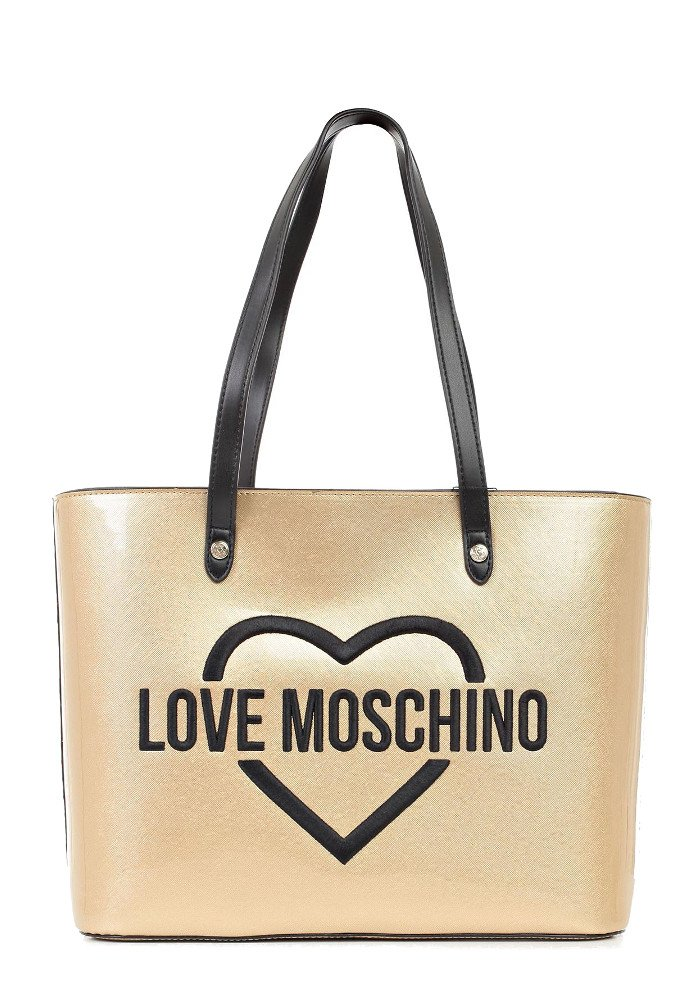 LOVE MOSCHINO embroidered HEARTS logo tote bag, Gold