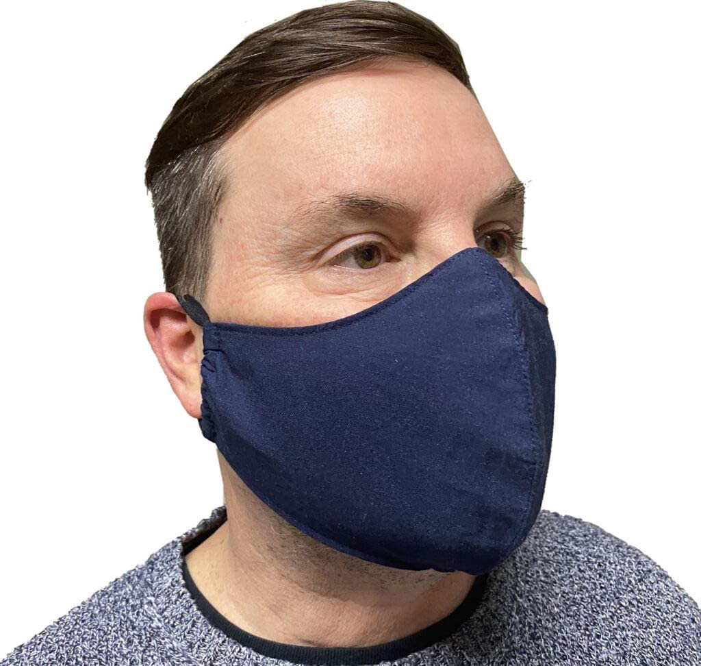 Adult Fashion Face Cover Cloth Face Masks Mouth Cover, Indoors & Outdoors, Reusable & Machine Washable, 2 layers with Filter Pocket and Nose Wire Bridge - Made in USA (Navy)