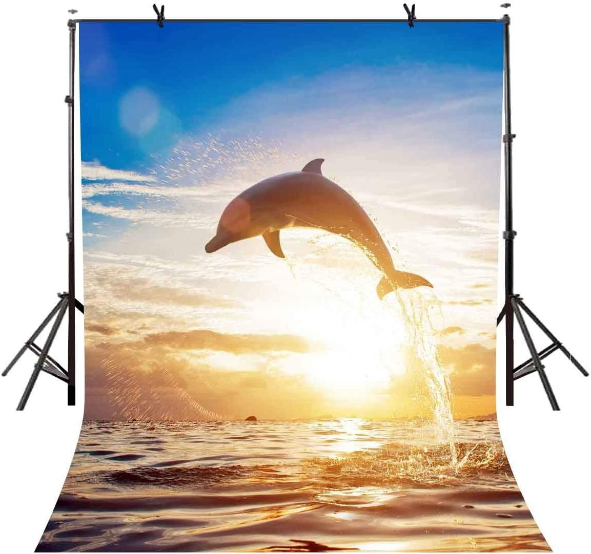 GoEoo 5x7ft Dolphin Backdrop Sunset Jumping Dolphin Photography Backdrop Photo Studio Background Props LYXC081