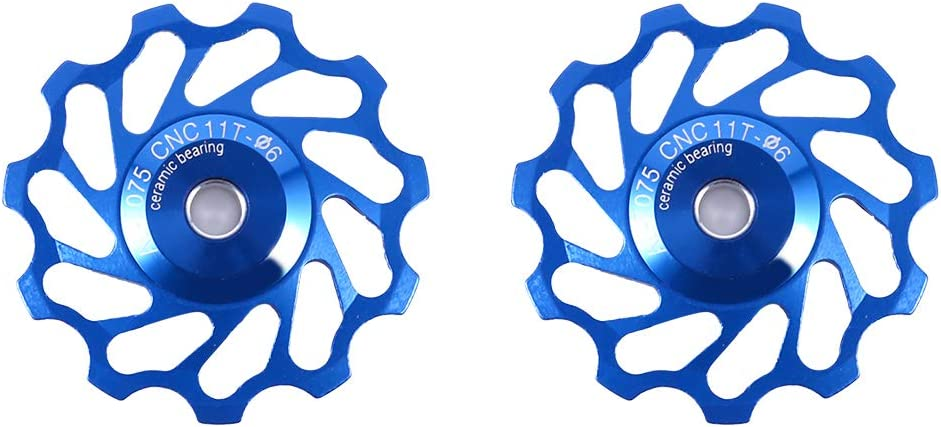 SOONHUA MEIJUN 2pcs Aluminium Alloy Jockey Wheel Durable Bike Rear Derailleur Pulley for Mountain Bike Tooth Rear Dial Cermet Bearing
