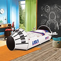 Furniture of America Jupiter Space Shuttle-Inspired White Twin-Size Youth Bed